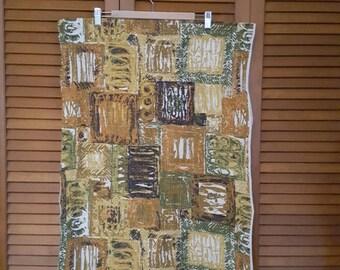 Vintage Barkcloth Yardage - Abstract in Earthtones