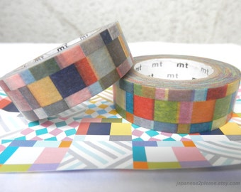 Washi Tape - Set of 2 - Washi Check Mosaic MT Deco 2013 design 15mm x10m ( 2 roll set )