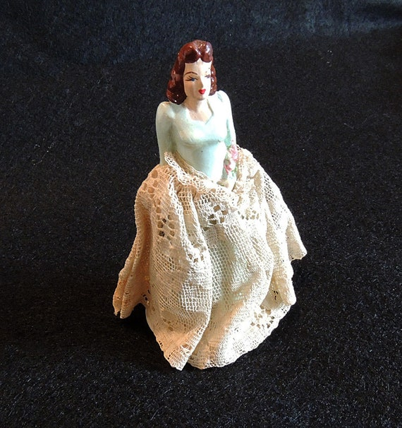 Vintage 1940's Chalkware Wedding Cake Topper Bride. Coast Novelty
