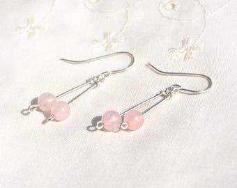Gemstone Earrings Silver Earrings Rose Quartz Earrings Sterling Silver Long Dangle Earring Pink Earring Jewelry Made in Israel Free Shipping