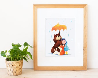 We Love the Rain Art Print