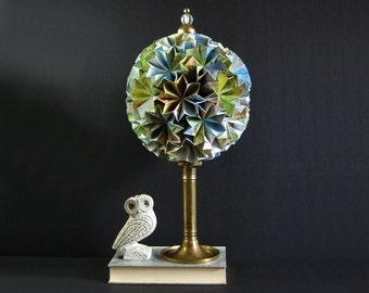 Map Paper Globe Sculpture - Large Kusudama Ball - Origami Star Art - Aqua Blue Decor Brass Home Decor - Travel Map Decor - Paper Anniversary