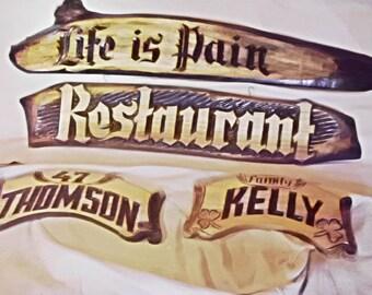 Wood Restaurant Plaque