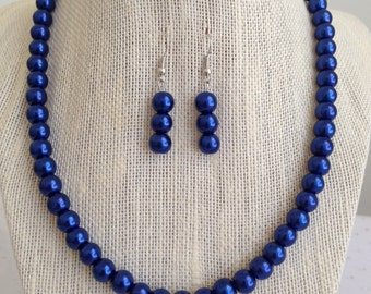 Cobalt Blue Pearl Necklace, Cobalt Blue Wedding Jewelry Set, Blue Bridesmaid Jewelry Gift, Glass Beaded Womens Necklace, Gift for Mom