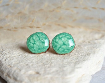 Light green earrings, round earring studs, wooden stud earrings, silver posts, hand painted pearly green studs, eco friendly jewelry