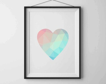Geometric heart Geometric Print Art Heart print Printable wall art Heart art Love print Modern art Home decor Minimalist art