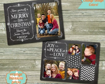 Christmas Chalkboard Holiday Card, Photoshop Template, Photographer Template, Vintage Chalkboard