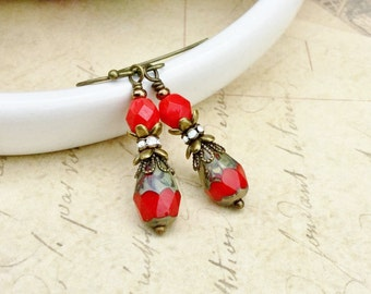Red Earrings, Victorian Earrings, Red and Gold Earrings, Czech Glass Beads, Red Vintage Earrings, Unique Earrings, Vintage Look Earrings