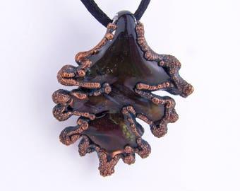 Fall Leaf Glass Pendant, Hand blown glass jewelry, electroformed copper Jewelry, Handmade Chunky Jewelry, Borosilicate, Boro Art Glass, Boho
