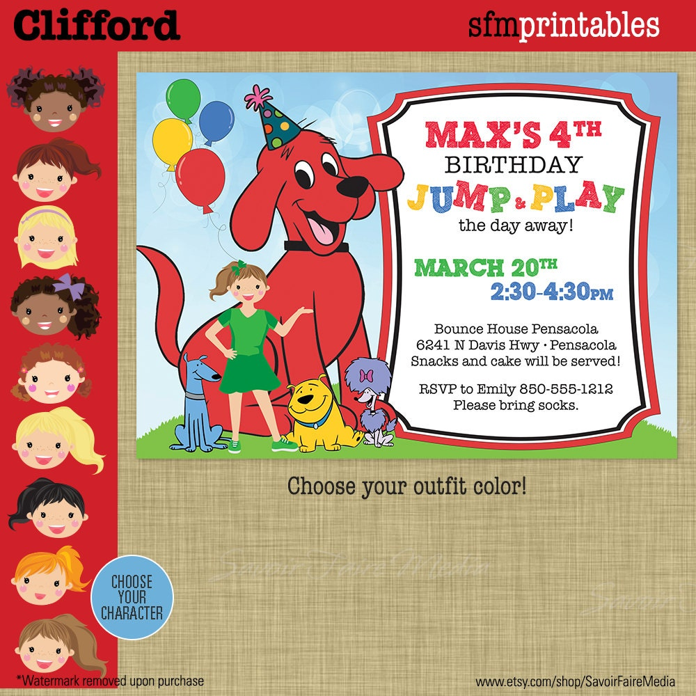 Clifford Party Birthday Invitation Big Red Dog Party Cloe