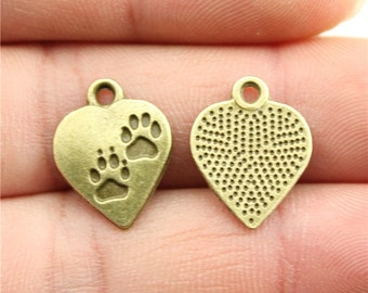8 Heart Paw Print Charms, Antique Bronze Charms (1I-33)