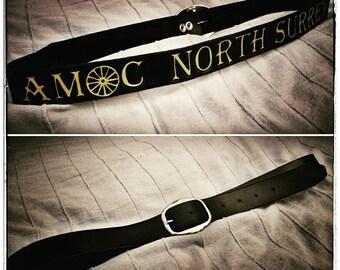 Raw edge, hand tooled belt