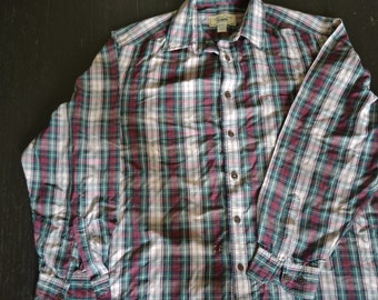 Vintage mens Country Road plaid shirt Size L made in Australia Rayon Cotton blend