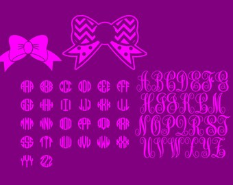 Monogram alphabet Kit with bows  (SVG FILE)