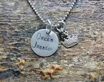 Queen Junker hand stamped pendant. Your choice of either Necklace or Keychain