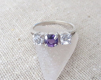 USA Amethyst and White Topaz Genuine Natural Three Stone Ring set in Sterling Silver - One of a Kind
