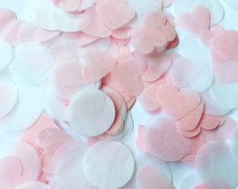 Beautiful hand stamped baby pink and white round circle and heart wedding celebration confetti