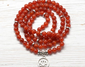 Red Agate 108 Bead Mala Necklace With Lotus Charm  : Inner Self Mala Beads