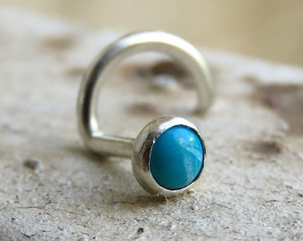 turquoise nose stud, turquoise nose piercing, nose screw
