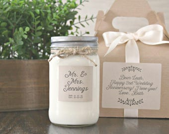 Couple Gift Candle / Personalized Name Gift / 16 oz Soy Candle  / Wedding Candle Gift / Anniversary Gift