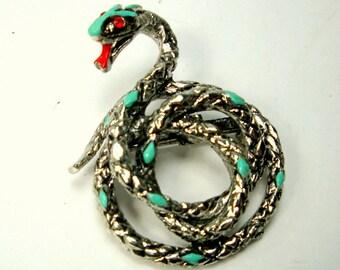 Diamondback Rattler Snake Pin, Red & Turquoise Enamel on Silvertone Coiled to Strike Serpent Brooch,   Unused Sample Reptile