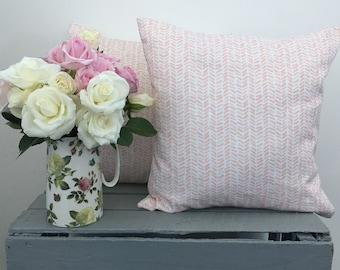 Pink and White Herringbone Cushion Cover