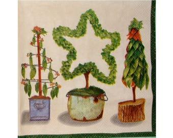 Set of 3 napkins NOE025 trees Christmas ornament / winter
