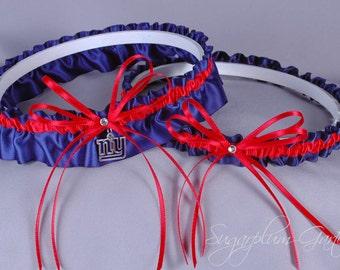 New York Giants Wedding Garter Set - Ready to Ship