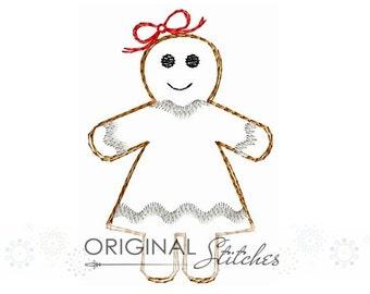 Quick Stitch Gingerbread Girl Embroidery Digital Design File  4x4 5x7 6x10