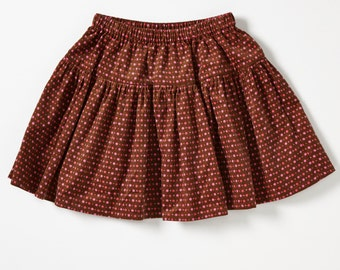 Handmade Girl's Cotton Corduroy Skirt - For 5 Year Old - Magical Garden no.319 -