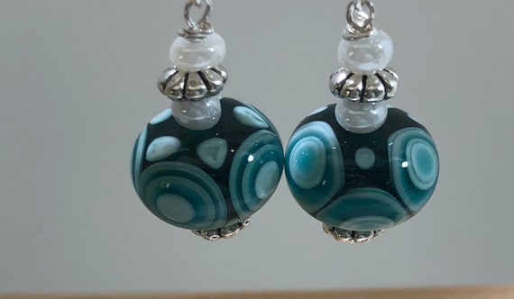 Glass Lampwork Earrings Pierced Dangle Aqua Blue Wave  Round Bead Pearl Sterling Silver OOAK Women Teens Gifts for Her