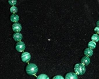 Beautiful Carved Malachite Graduated Bead necklace