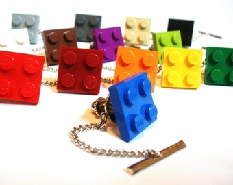 LEGO Tile Tie Tack Clutch and Chain -Choose your color-FREE GIFT BAG- Retro Man Guys Dad Fun Gift 80's Dork Boy Groom Groomsmen Fathers day