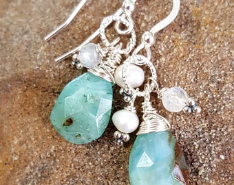 Peruvian Opal Sterling Wire Wrapped Earrings, Freshwater Pearl, Rainbow Moonstone, Gemstone, Jewelry, Jewellery, Handcrafted, Handmade, Gift