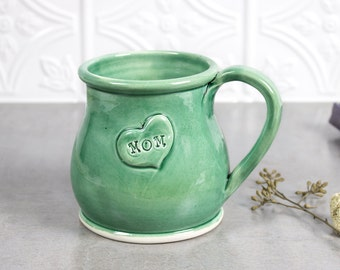 Ceramic Coffee mug, BlueRoomPottery cup, Mom in my heart, mint green Handmade POTTERY mugs amazing kitchen Gift Idea For Her