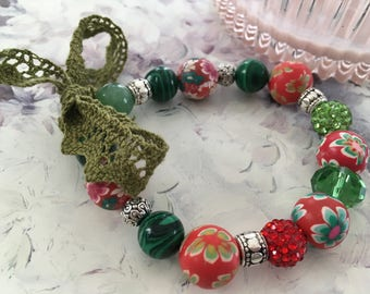 Red and green lace bracelet