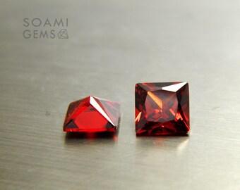 Loose Cubic zirconia square shape garnet, 5x5, 6x6, 7x7, 8x8, 9x9, 10x10 mm square cut red garnet loose cubic zirconia faceted gem