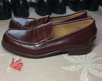 1950's Deadstock Penny Loafers Burgundy Brown men's size 8.5 Flagg Bros. Custom Grade Hand Finished leather soles