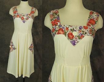 vintage 70s Sun Dress - 1970s Floral Patchwork Sundress Sz S