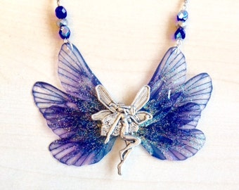 Fairy necklace, blue and silver, fairy wings and silver elf, Swarovski crystal, matching earrings,