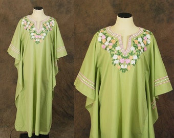 vintage 70s Caftan - Floral Embroidered Maxi Dress 1970s Boho Hippie Dress Lounge Wear S M L