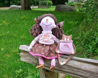 Cat lover gift Kitty doll Cat decor Art doll Cat lover doll Primitive cat doll Funnu cat gift Cat lady gift Cat lovers Mothers day gift