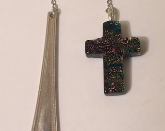 Vintage Silver Spoon Handle Bookmark with Colorful Resin Cross