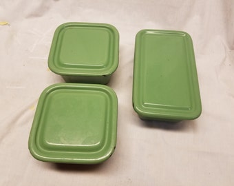 Set of 3 Antique porcelain coated steel refrigerator dishes
