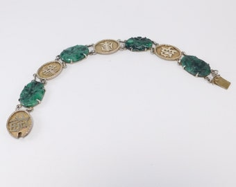 Old Chinese Silver Vermeil Carved Jade Bracelet