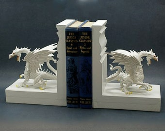 Dragon Bookends Medieval Myth Winter White Snow Dragons Unique Book Ends Bookshelf Fantasy Game of Thrones Mythology Glow in the Dark
