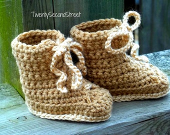 Baby Booties  Combat Hiking or Work Boots Crochet Baby Shoes Military