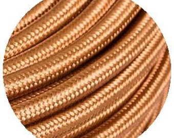 Fabric Textile cable wire for Lighting Round 2x0.75 in Whiskey