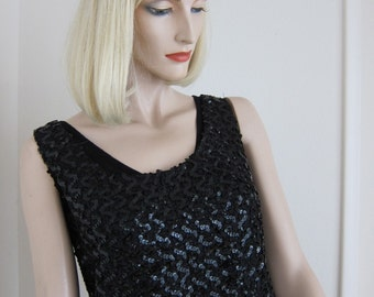50s Vintage Black Sparkly Sequins Top - Hollywood Glam Sequins Vintage Tank - Bombshell 1950s Holiday Glamour - Small