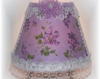 Lovely Lilacs Purple Florals with Green Leaves NIGHT LIGHT Lavender Background Lace